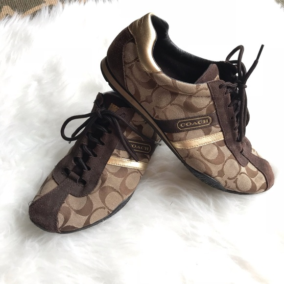 54a282b68 Coach Shoes | Katelyn Signature C Sneakers 85 Brown Gold | Poshmark
